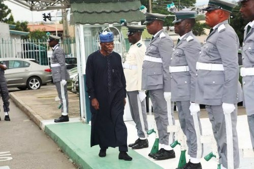 Comptroller-General of Customs Col. Hameed Ibrahim Ali (rtd) inspecting the guards