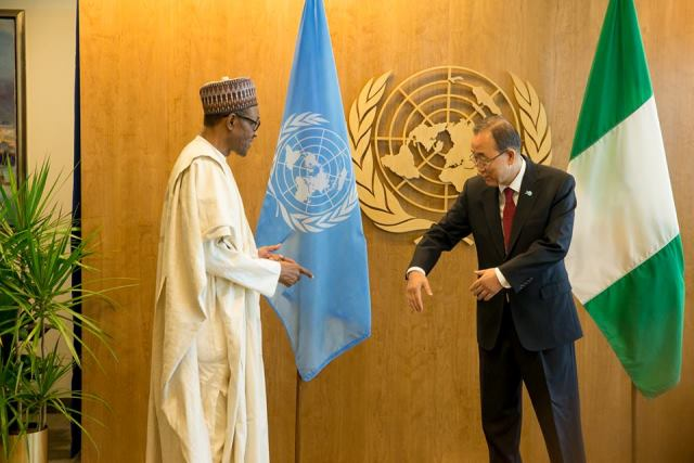 PMB AND UN SECRETARY, MR BAN KI MOON DURING A BILATERAL MEETING