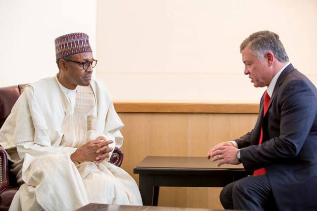President Buhari in a billateral meeting with His Majesty, King Abdullah II lbn Al Hussein, King of the Hashemite Kingdom of Jordan