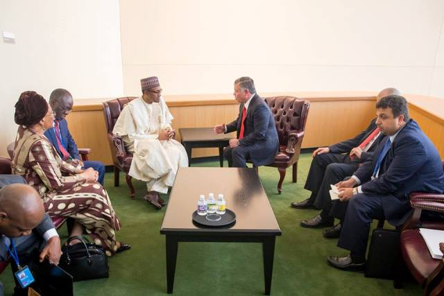 President Buhari in a billateral meeting with His Majesty, King Abdullah II lbn Al Hussein, King of the Hashemite Kingdom of Jordan1