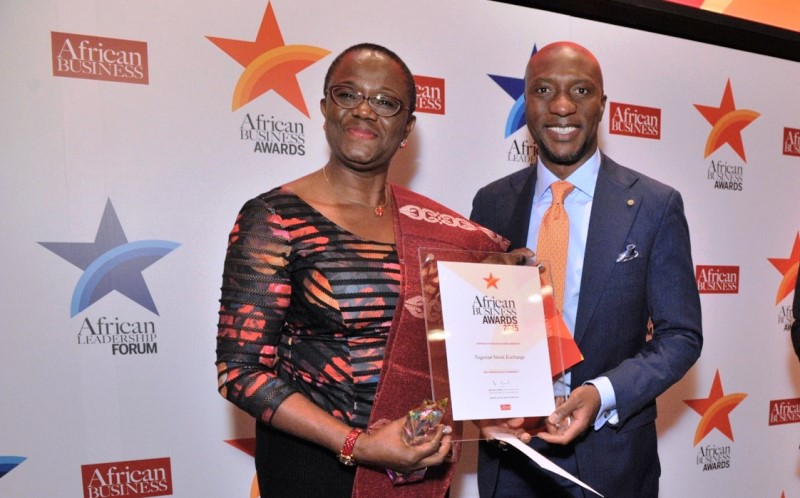 Mr. Oscar N. Onyema, Chief Executive Officer, The Nigerian Stock Exchange (NSE) with Ms. Olajobi Makinwa, Chief, Anti-Corruption & Transparency and Africa, United Nations Global Compact (UNGC) while receiving the Best Corporate Social Responsibility (CSR) Company Award at 2015 African Business Awards held in New York, USA.