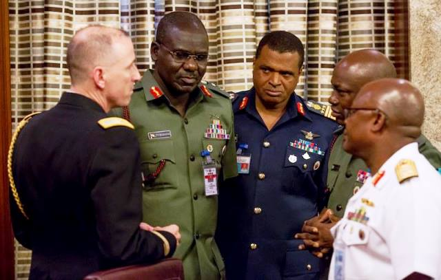 General David Rodriguez, Commander, United States Africa Command (AFRICOM) and his team in a chat with Nigeria security chiefs