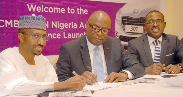 L-R: Mr. Ibrahim Boyi, Managing Director/Chief Executive of Peugeot Automobile Nigeria (PAN) Limited; Mr. Mustapha Lukman, Regional Director, Abuja & North of First City Monument Bank (FCMB) Limited, and Mr. Olajire Awofisibe, Head, Retail Assets of the Bank, during the launch of the FCMB/PAN Auto Loan Alliance Scheme on Thursday in Abuja
