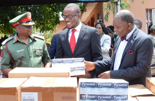 L-R:  Director-General, NYSC, Brig. Gen. Johnson Olawunmi, Sustainable Development Manager, Guinness Nigeria, Osita Abana and Representative of the Deputy Governor of Lagos state, Micheal Dawodu at the presentation of drugs by Guinness Nigeria to the NYSC Health Initiative for Rural Dwellers which was flagged off in Olorunda LCDA, Badagry…recently