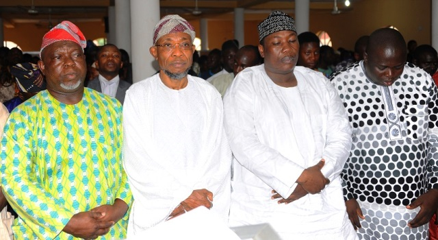 L-R: Deputy Speaker, State of Osun House of Assembly, Honourable Akintunde Adegboye; Governor State of Osun, Ogbeni Rauf Aregbesola; Speaker, Honourable Najeem Salaam; Honourable Kamil Oyedele and  others, during a Special Jumat prayer for the Country's Independence at Allahu Lateef Mosque, Osogbo on Friday