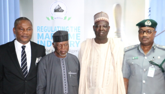 L-R: Mr. Callistus Obi, Executive Director, Maritime Labour and Cabotage Services NIMASA, Col. Hameed Ali (rtd) Comptroller General of Customs, Mr. Haruna Baba Jauro, Acting Director General of NIMASA and  Akinlade Adewuyi, DCG in charge of Tariff and Trade during a visit of the CGC and his team to NIMASA in Lagos recently