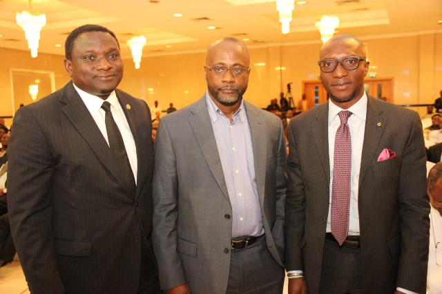 L – R: Mr. Oluwatosin Abe, Acting President, Chartered Institute of Stock Broker (CIS); Mr. Ese Onosode, the eldest son of Dr. Gamliel Onosode and Mr. Oscar N. Onyema, Chief Executive Officer, The Nigerian Stock Exchange (NSE) at the Service of Songs & Night of Tributes in honour of Deacon (Dr.) Gamaliel O. Onosode held at Civic Centre, Lagos recently.