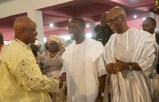 Delta State Governor, Senator Ifeanyi Okowa (middle); APC National Chairman, Odigie Oyegun (right) and Otega Emerhor, during the burial ceremony of Late Gamaliel Onorode, held at First Baptist Church, Market Road, Ughelli