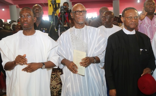 L-R: Delta State Governor, Senator Ifeanyi Okowa; APC National Chairman, Odigie Oyegun and former Commonwealth Secretary, Chief Emeka Anyaoku, during the burial ceremony of Late Gamaliel Onorode, held at First Baptist Church, Market Road, Ughelli