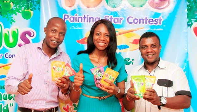 "L-R: Events and Promotion Manager, Yojus Fruit Drink, Adedotun Adelaja; Brand Manager, Yojus Fruit Drink, Foluke Makinde and Goddie Offose, President, Brand Journalist Association of Nigeria at Yojus ""Painting Star Contest"" Press Event sponsored by Ranona Limited, a member of Olam Group held  in Lagos"
