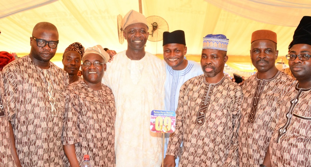 Chairman, Osun House of Assembly Committee on Information and Strategy, Honourable Olatunbosun Oyintiloye (3rd left); Chairman, Oyo Parliamentary Caucus, Hon. Olusegun Ajanaku (2nd right); Members, Oyo State House of Assembly, Honourable Segun Olaleye representing Ibadan North state constituency II (4th left); and others, during Oyintiloye's mother burial in Ibokun, State of Osun on Saturday 28-11-2015