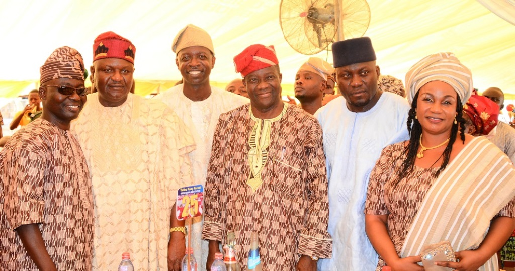 From left, Secretary, All Progressives Congress (APC) Osun chapter, Honourable Rasak Salinsile; Osun APC Chairman, Prince Gboyega Famodun; Chairman, Osun House of Assembly Committee on Information and Strategy, Honourable Olatunbosun Oyintiloye; Members, Osun House of Assembly, Hon. Kamarudeen Akanbi; Hon. Nureni Adebisi and Former Commissioner for Environment and Sanitation, Professor Olubukola Oyawoye, during Oyintiloye's mother burial in Ibokun, State of Osun on Saturday 28-11-2015