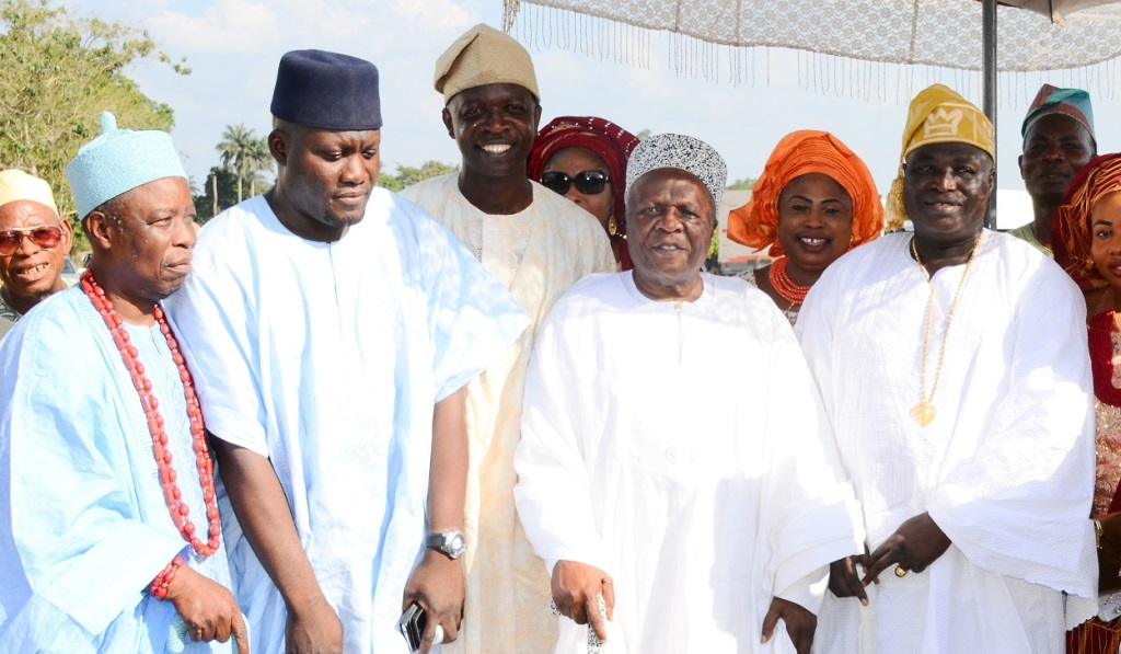 From right, Timi of Edeland, Oba Munirudeen Lawal; Akinrun of Ikirun, Oba Rauf Adedeji; Chairman, Osun House of Assembly Committee on Information and Strategy, Honourable Olatunbosun Oyintiloye; Member, Osun House of Assembly, Hon. Nureni Adebisi and Elende of Ekonde, Oba Raji Oladosu, during Oyintiloye's mother burial in Ibokun, State of Osun on Saturday 28-11-2015