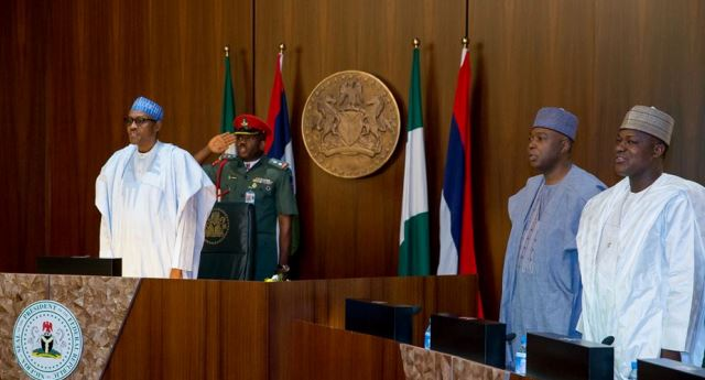 President Buhari, Senate President Bukola Saraki and Speaker Hon. Yakubu Dogara as President Buhari presides over Swearing-In Ceremony of the newly elected INEC Chairman and National Commissioners in Statehouse on Monday in Abuja