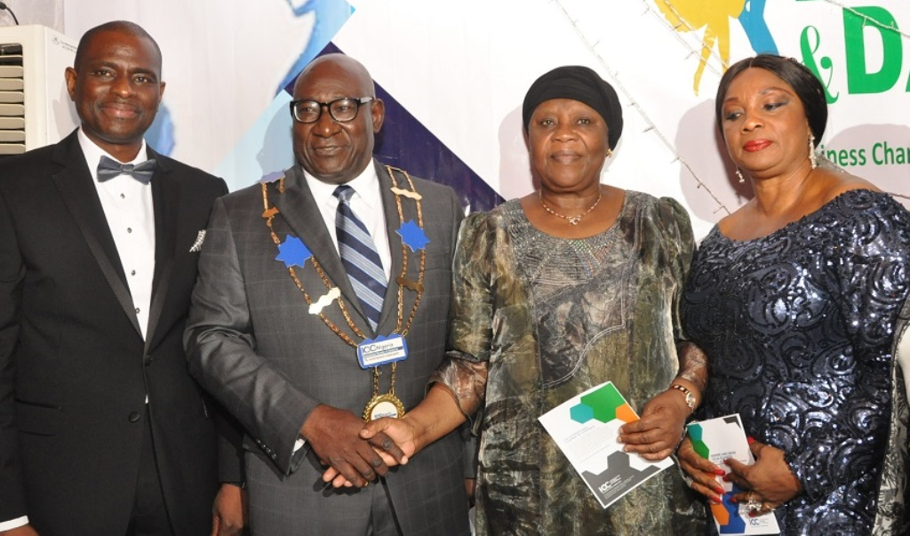 L-R: MD/CEO Airtel Nigeria, Segun Ogunsanya; Board Chairman, International Chamber of Commerce (ICC) Nigeria, Babatunde Savage; former CJN, Hon. Justice Aloma Mukhtar (GCON) and ICC Nigeria Treasurer, Dorothy Ufot (SAN) during the 2015 Annual Dinner & Dance of ICC Nigeria in Lagos….recently