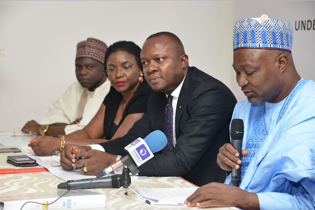 L-R: Director, Transcorp Hotels Plc (THP), HRH, Alhaji Baba Mohammed;  Executive Director, Customer Services, THP, Ms Okaima Ohizua ; Managing Director/CEO, THP,  Mr. Valentine Ozigbo; and Director, THP and Director-General, Bureau of Public Enterprises, Mr. Benjamin Dikki, during the Completion Board Meeting for Transcorp Hotels Plc's N10 billion bond issue for the renovation of Transcorp Hilton Abuja, held in Lagos on Friday