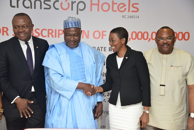L-R: Managing Director/CEO, Valentine Ozigbo; Director, Benjamin Dikki; Company Secretary, Helen Iwuchukwu; and Director, Peter Elumelu during the Completion Board Meeting for Transcorp Hotels Plc's N10 billion bond issue for the renovation of Transcorp Hilton Abuja, held in Lagos on Friday