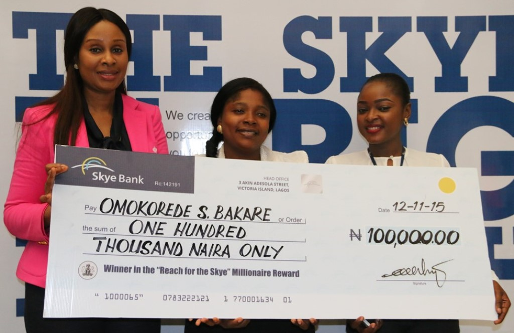 Skye Bank presents Cheques to 'Reach For The Skye Millionaire' winners
