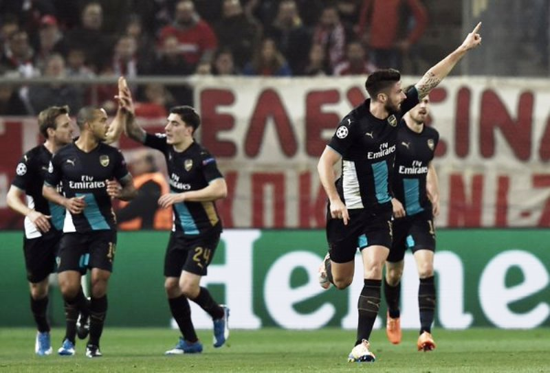 UCL: Giroud shines as Arsenal trump Olympiacos