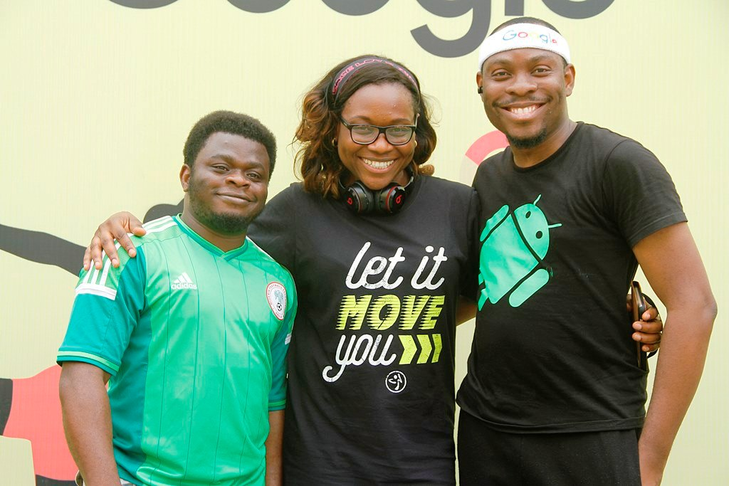 Google Executives Taiwo and Abdul with Gym instructor