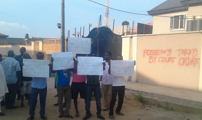 Residents of Peace Estate, Ilamoshe, Oke-Afa, Ejigbo area of Lagos State protesting against the continuous harassment in the area by a group of land speculator