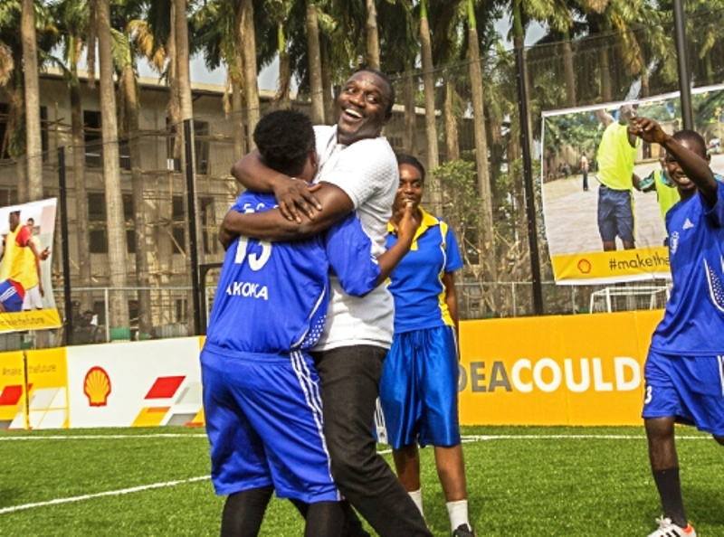 Shell, Akon unveil Africa's first solar powered football pitch in Nigeria