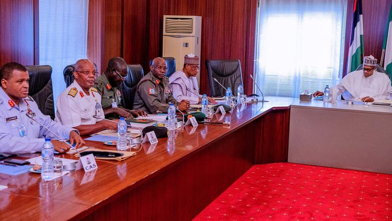 Security chiefs meet with President Buhari, keep mum
