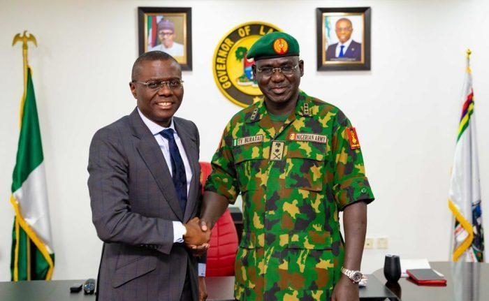 Sanwo-Olu receives Buratai in Lagos